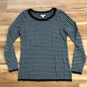 Old Navy 100% Cotton Black & Gray Strip Sweater